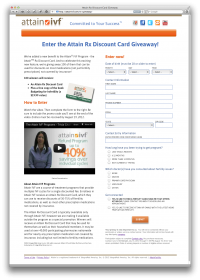 Attain RX Give Away Landing Page